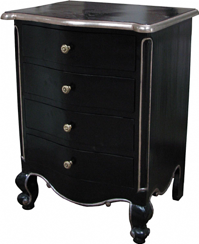 Louis Four Drawer Bedside in Black and Silver